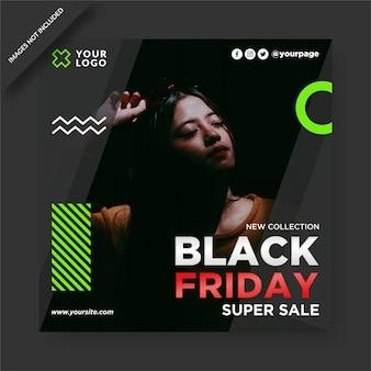 Черная пятница баннер instagram и дизайн сообщений в социальных сетях