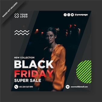 Black friday banner instagram and social media post   design