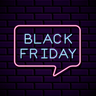 Black friday banner neon with bubble shape over wall