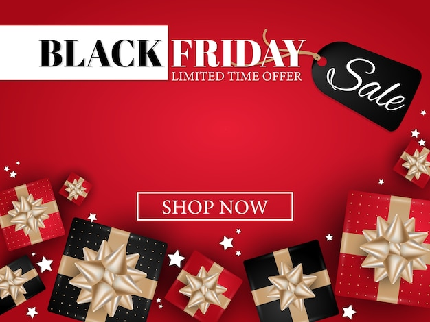Black friday banner of realistic gift boxes with gold ribbons.