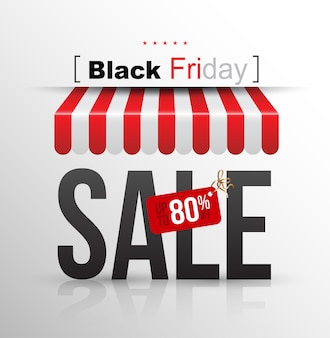 Black Friday banner sale poster with awning