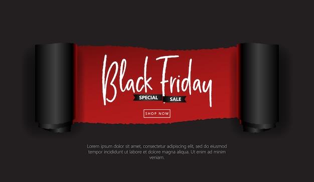 Black friday banner sale torn rolled paper