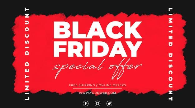 Vendita banner black friday con macchia rossa