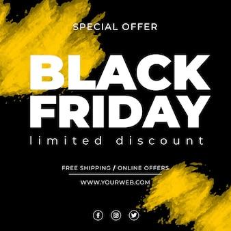 Black friday banner sale con macchie gialle