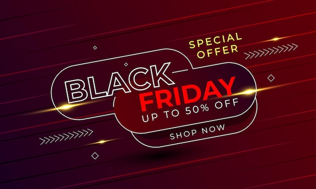 Black friday banner special offer light red background premium vector