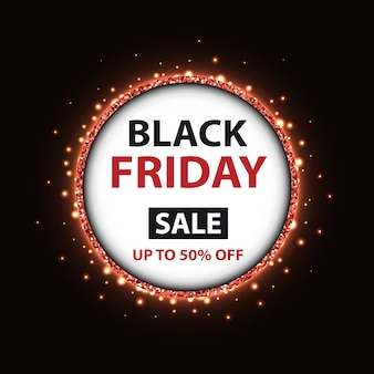 Black friday banner template with round frame