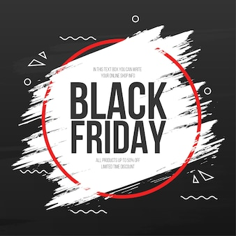 Black friday banner with abstract brush stroke frame