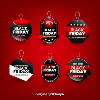Black friday banner with badge collection