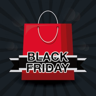 Black friday banner with bag shopping