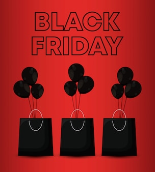 Black friday banner with bags shopping and balloons air