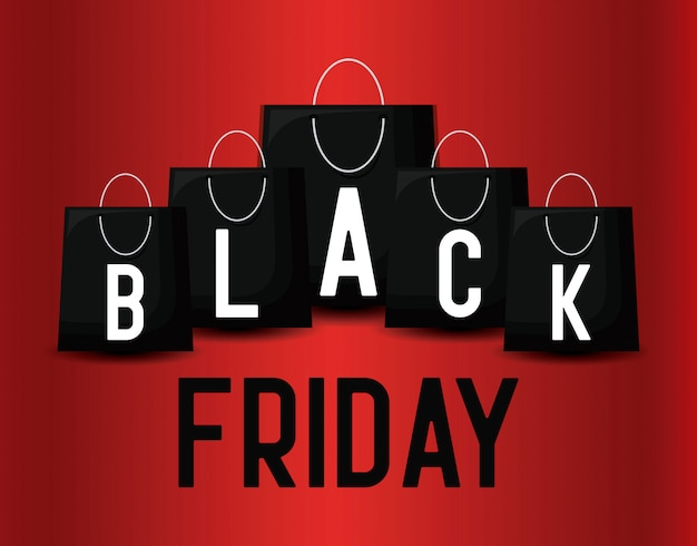 Black friday banner with bags shopping