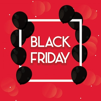 Black friday banner with balloons air