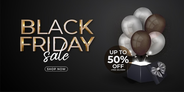 Black friday banner with balloons and gift box template