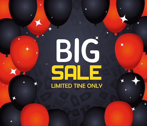 Black friday banner with balloons