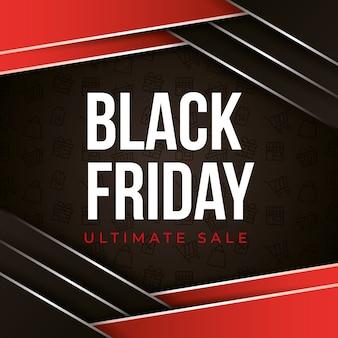 Черная пятница баннер с черно-красным абстрактным фоном с продажей текста
