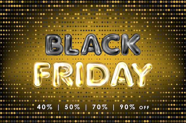 Black friday banner with black and golden foil balloon lettering