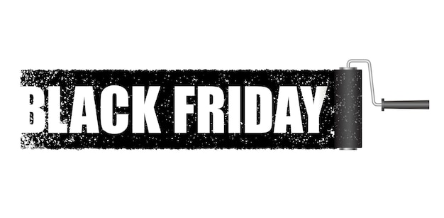 Black friday banner with a black paint roller background isolated.