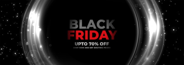 Black friday banner with circular glowing lines