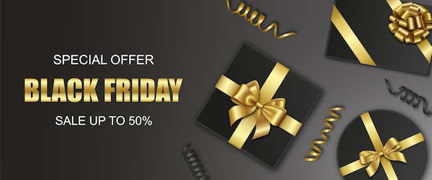 Black friday banner with gift boxes and streamers