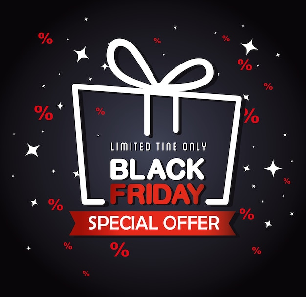 Black friday banner with gift