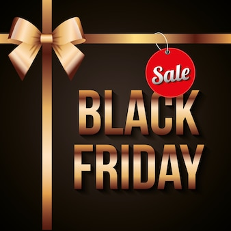 Black friday banner with gold bow and red label sale with text