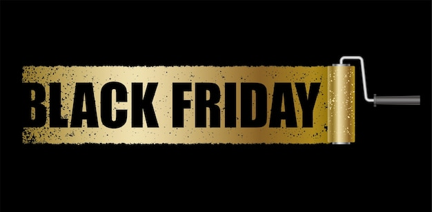 Black friday banner with a gold paint roller background isolated.