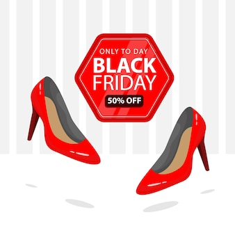 Black friday banner with illustration of female red shoes