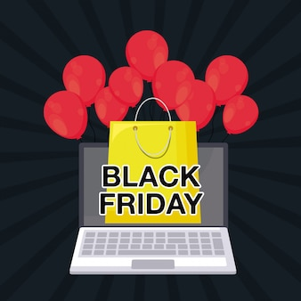 Black friday banner with laptop computer