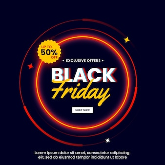 Black friday banner with light circle neon