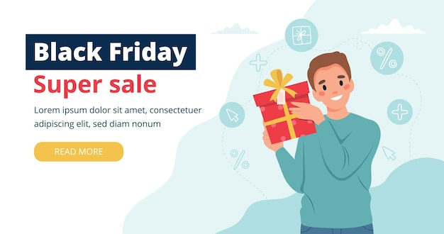 Black friday banner with man holding a gift box.