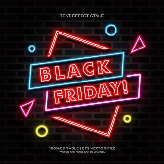 Black friday banner with neon text effects