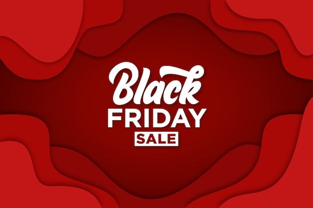 Black friday banner with paper cut style