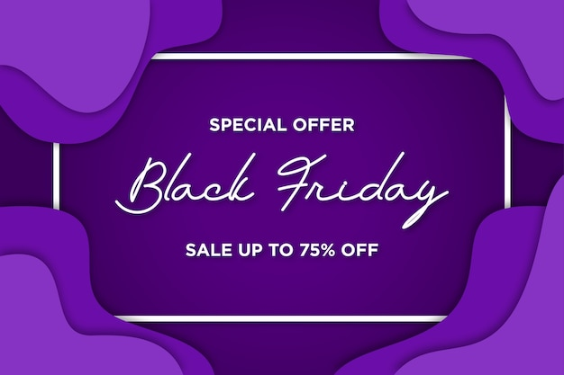 Black friday banner with papercut background