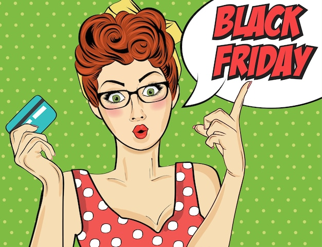 Black friday banner with pin-up girl. retro style.