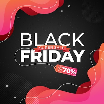 Black friday banner with pink, red color abstract fluid, liquid shape