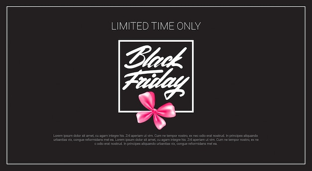 Black friday banner with pink ribbon bow
