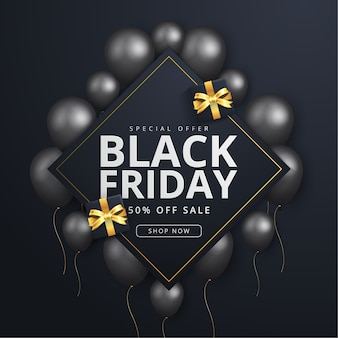 Black friday banner with realistic black balloons