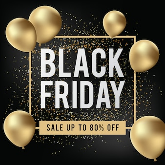 Black friday banner with realistic gold balloon