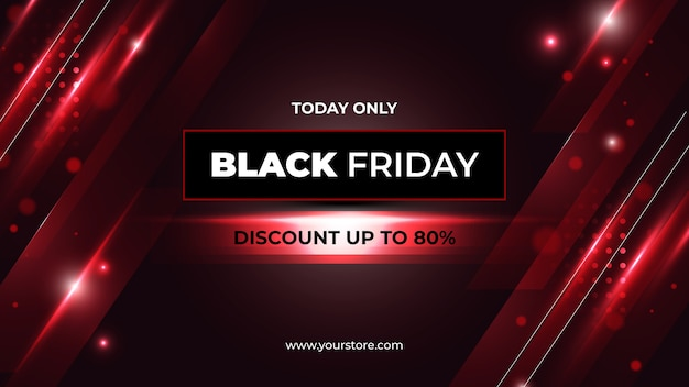 Black friday banner with red abstract