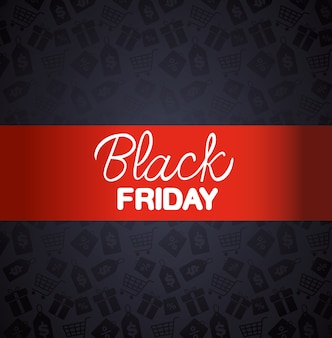 Black friday banner with red frame