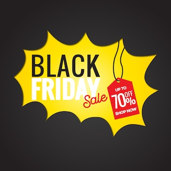 Black friday banner with sale tag hanging premium