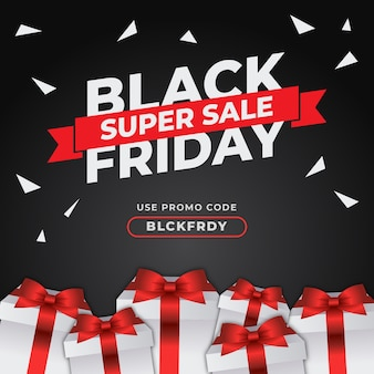 Black friday banner with special gift vector