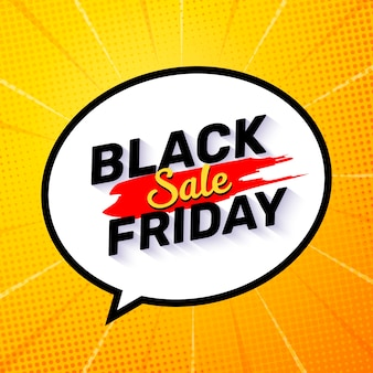 Black friday banner with a speech bubble and comic sunburst