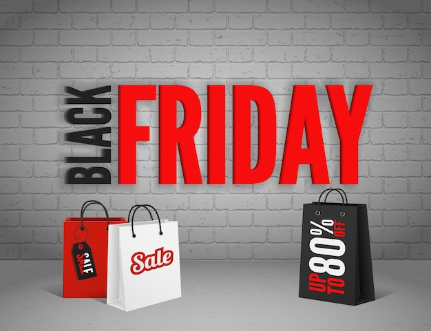 Black friday banner with splashes of ink and shoppping tag and bags