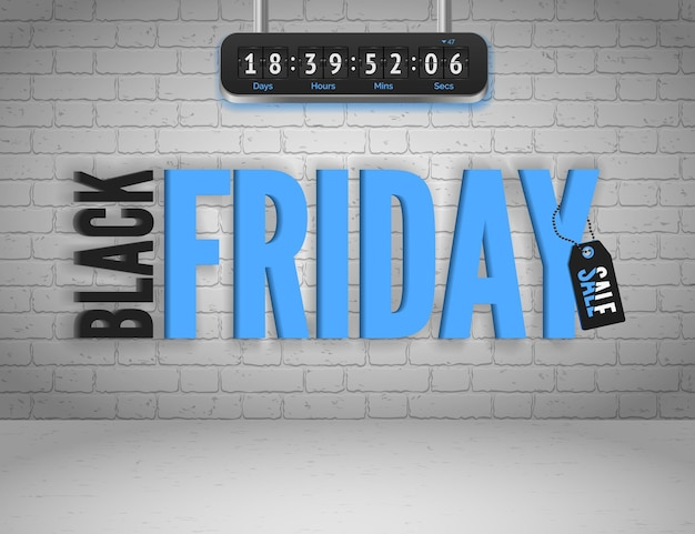 Black friday banner with splashes of ink and shoppping tag and countdown timer