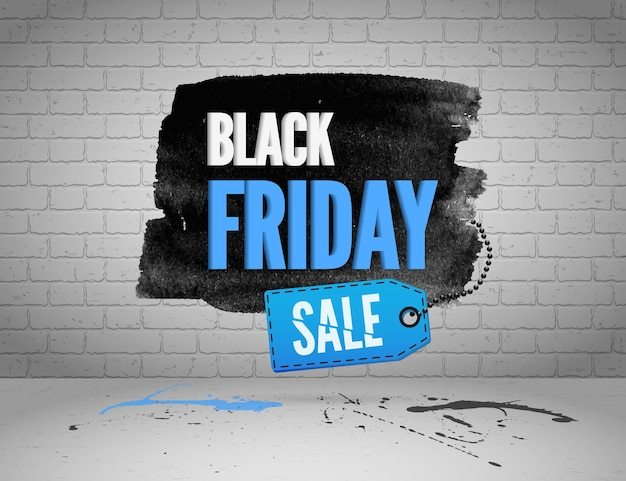 Black friday banner with splashes of ink and shoppping tag