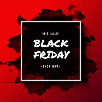 Black friday banner with watercolor splatter