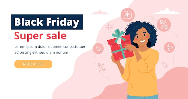 Black friday banner with woman holding a gift box.