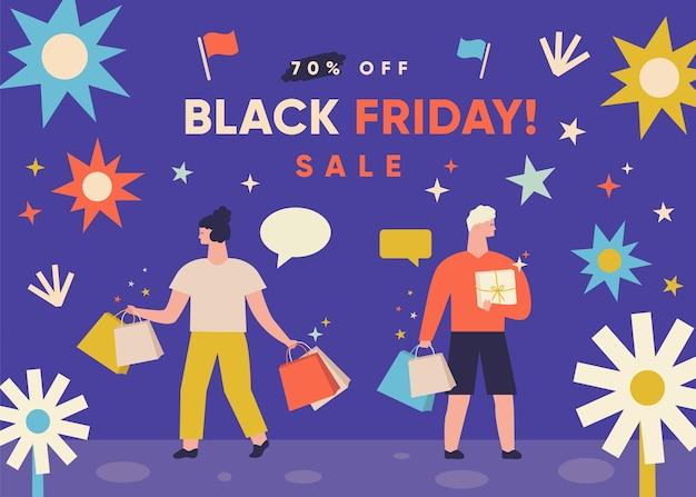 ブラックフライデーのバナー。ショッピングバッグを持つ女性と男性。ビッグセールをコンセプトにしたオンラインショッピング。