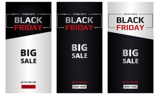 Black friday, banners collection. black friday dark and silver vertical banners set. big sale, special offer